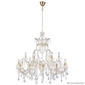 ALADDIN 1214-18 MARIE THERESE - 18LT CHANDELIER, POLISHED BRASS, CLEAR CRYSTAL