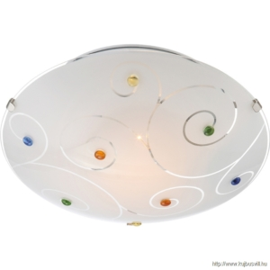 GLOBO 40983-1 FULVA Mennyezeti lámpa króm, üveg, ø250, H:75, exkl. 1xE27 ILLU 60W 230V