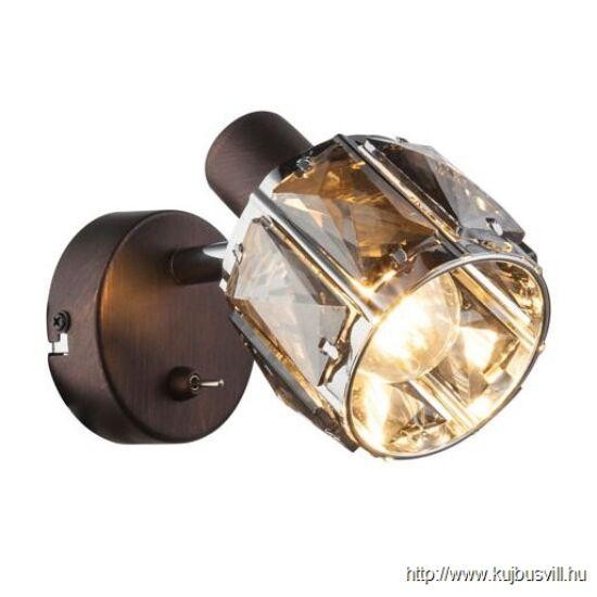 KIFUTÓ GLOBO- 54357-1 INDIANA Spot,  bronz, króm, füstszínű üveg, kapcsolóval,1xE14 40W 230V