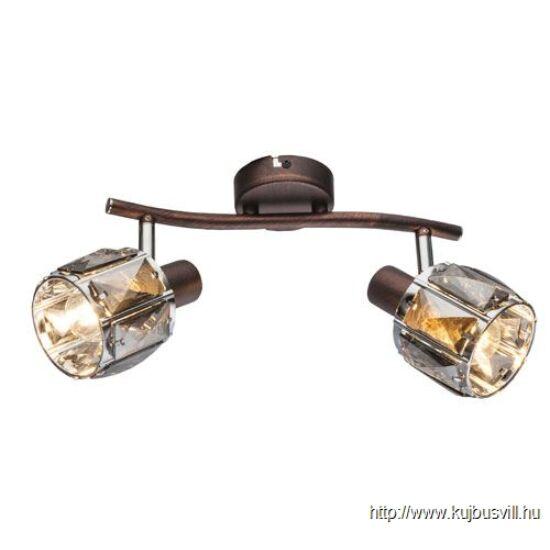KIFUTÓ GLOBO- 54357-2 INDIANA Spot,  bronz, króm, üveg-kristály füstszínű,2xE14 40W 230V