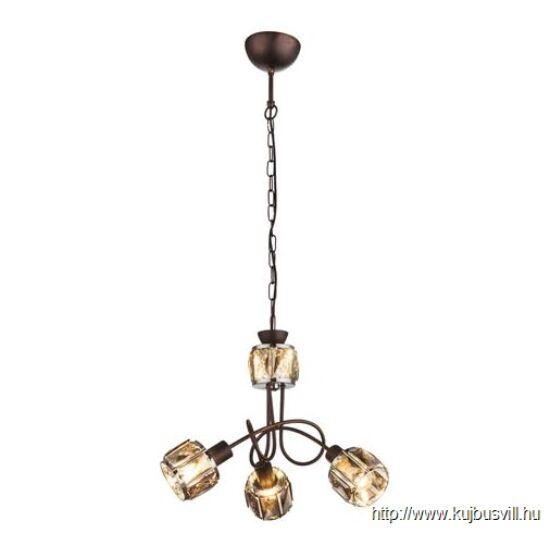 KIFUTÓ GLOBO 54357-3H INDIANA Függeszték bronz, króm, üveg-kristály füstszínű,3xE14 40W 230V