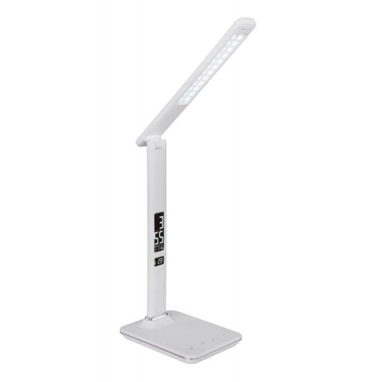 GLOBO 58378W TANNA Asztali lámpa plasztik, fehér.Dátum , idő, hőmérséklet mutatása, érintőkapcsolós, színhőmérsékletváltó.