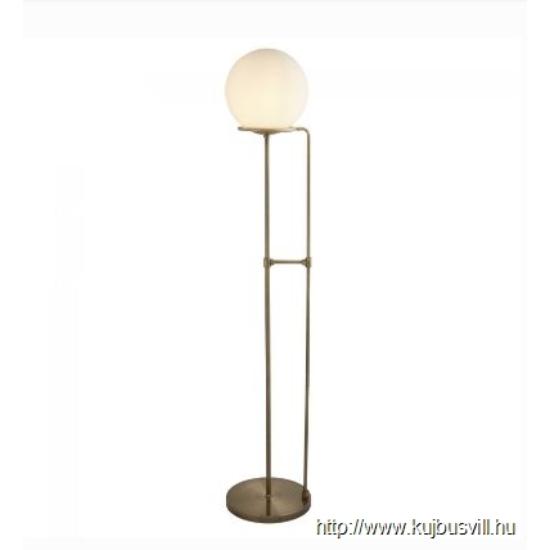 ALADDIN EU8093AB SPHERE 1LT FLOOR LAMP, ANTIQUE BRASS, BLACK BRAIDED CABLE, OPAL WHITE GLASS SHADE