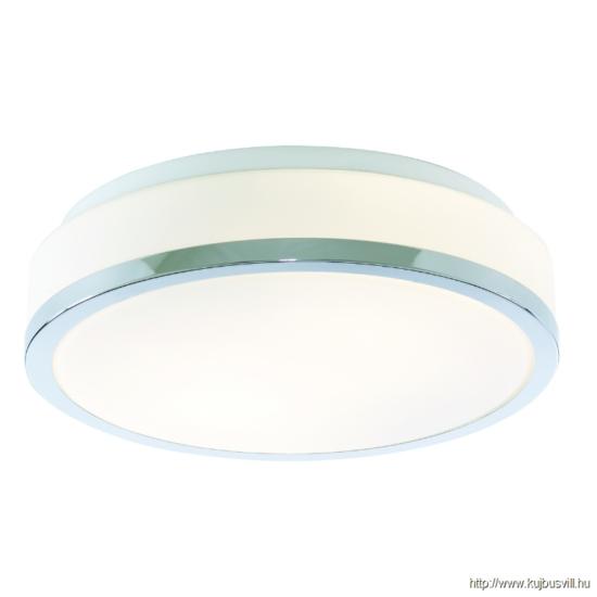 ALADDIN 7039-28CC DISCS - BATHROOM - IP44 2LT FLUSH, OPAL WHITE GLASS SHADE WITH CHROME TRIM DIA 28CM