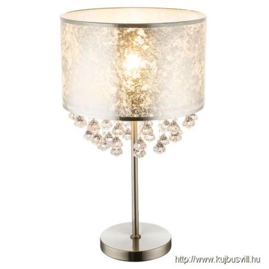 GLOBO 15188T3 AMY I Asztali lámpa nikkel  matt, textil ezüst, akril kristály, kapcsolóval,1xE27 60W 230V