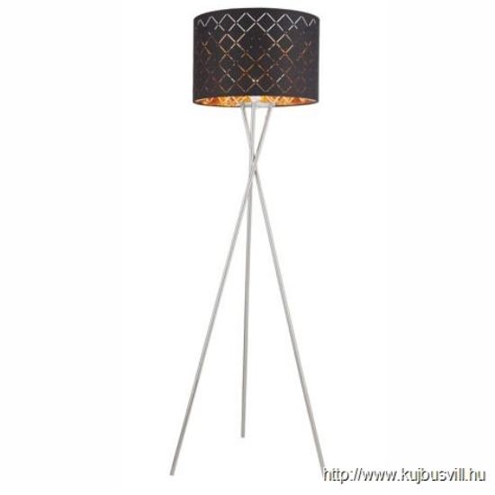 GLOBO 15229S1 CLARKE Állólámpa  textil,  fekete-arany, kábel 1,8 m, 1xE27 60W 230V