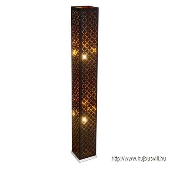GLOBO- 15229S2 CLARKE Állólámpa, nikkel  matt, textil fekete arany kapcsolóval, LxWxH:150x150x1180, Foglalat típusa:2xE27 40W 230V