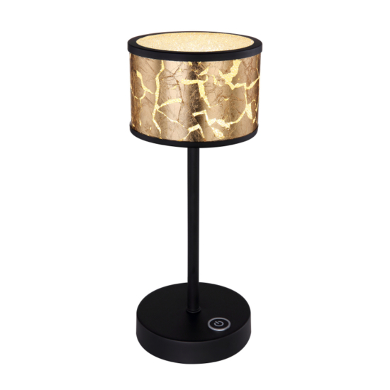 GLOBO- 49367-6T POTTI Asztali lámpa fém fekete , üveg búrában akril-kristály dekorral. Fekete-arany fóliával díszítve. Érintőkapcsolós. Ø:120, H:300, inkl. 1xLE