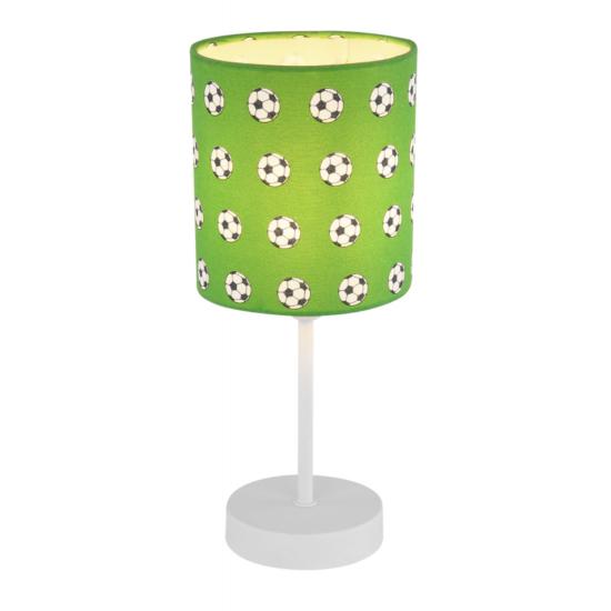 GLOBO- 54009T LEMMI Asztali lámpa fém fehér, zöld foci mintás műanyg bűrával. H:310, exkl. 1xE14 40W 230V
