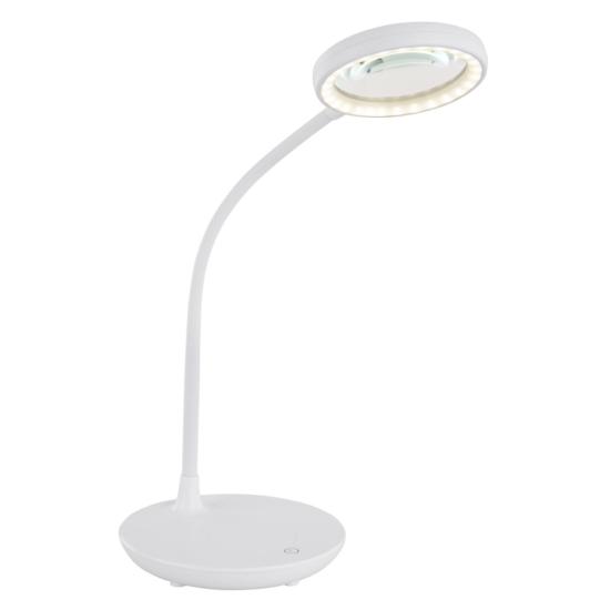 GLOBO 58408 LOUPE Asztali lámpa, fehér színben, nagyítóval,flexibilis szár,1xLED5W.
